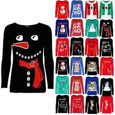 Womens Xmas Carrot Nose Snowman Christmas Costume Long Sleeve Ladies Tee T Shirt