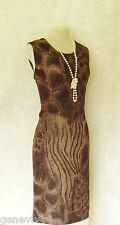 GINA BACCONI Size 16 18 Brown Gold Metallic Animal Print Evening Wedding Dress