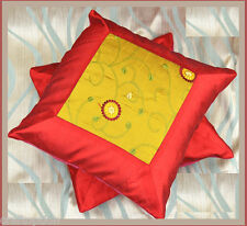 Set of Two Flower Embroidered Hand Made Red Green Silk Pillow Cover from India