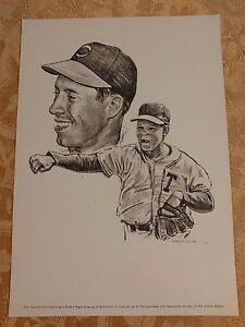 Bob Feller Print Robert Riger Drawing Vintage Frameable Print Cleveland Indians