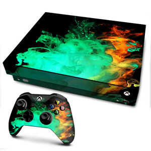 Xbox One X Console Skins Decal Wrap ONLY Orange Green Smoke