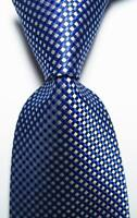 New Classic Checks Blue Black White JACQUARD WOVEN 100% Silk Men's Tie Necktie