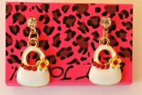 Betsey Johnson Crystal Rhinestone Enamel Handbag Post Earrings