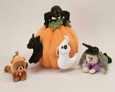 "6 PC SOFT Plush 10"" Pumpkin HOUSE TOTE  Assorted Stuffed Animals Cat Witch Ghost"