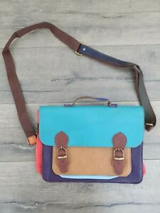 Gringo Fairtrade Multi Coloured Recycled Leather Satchel - Faulty Strap