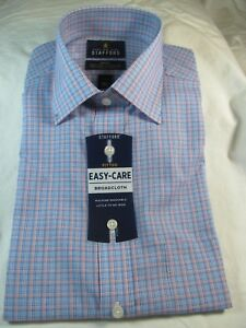 NWT STAFFORD EASY CARE BROADCLOTH FITTED COTTON BLEND CORAL & BLUE MULTI-CHECK