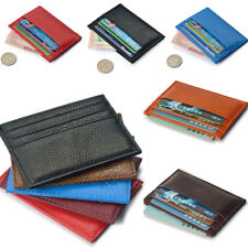 Men's Women's Real Leather Small Id Credit Card Wallet Holder Slim Pocket Case