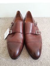 Hackett Mens Brown Leather Double Monk Strap Shoes Size 11
