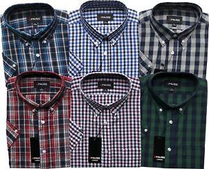 Mens Short Sleeve Reg/Big Size Button Down Check Shirts M to 6XL Cotton Blend