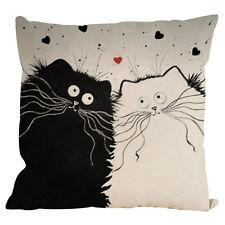 Vintage Cat Dog Cotton Pillow Case Sofa Waist Throw Cushion Cover Car Decor