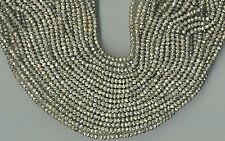 "13.5"" 3.5MM FACETED SILVER COATED PYRITE RONDELLE BEADS"