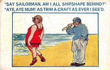 POSTCARD   COMIC    Seaside   Lady  Sailor   Related...