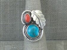 Vintage Sterling Silver Turquoise Coral Ring Size 6 Native American Handmade