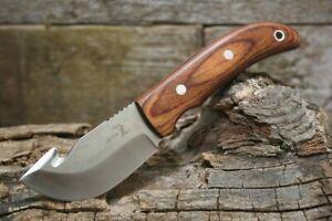 "7"" ELK RIDGE MIRROR GUT HOOK FIXED BLADE KNIFE & BROWN PAKKAWOOD HANDLE + SHEATH"