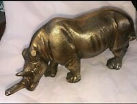 Awesome XL Rhinoceros Rhino Brass Sculpture - Very Unique, Detailed and Heavy!!!