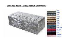 "Crushed Velvet Ottoman Box Storage Diamante Medium 30"" Large 40"" Line Design"