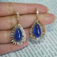 Solid 2.50 Ct Pear Cut Blue Sapphire Drop/Dangle Earrings 14K Yellow Gold Over