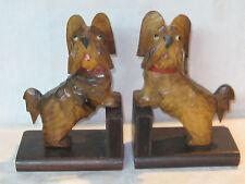 Anri Black Forest carved wooden Scotty dog Scottish Skye terrier bookends
