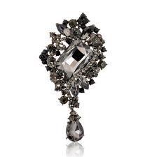 Stile Vintage Diamante Cristallo Nero Goccia d'acqua Spilla BR284