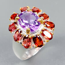Handmade Natural Amethyst 925 Sterling Silver Ring Size 7.25/R121934