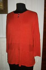 Pull long soie orange stretch manches 3/4 CHRISTINE LAURE T.4 42/44