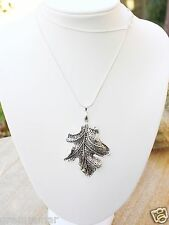 Trendy Silver tone Oak Leaf Pendant Necklace 925 silver plated chain , New