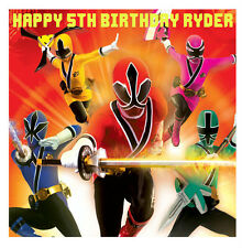1 x Power Rangers 19cm square personalised cake edible image topper