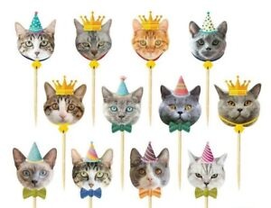CAT Cake Picks Cupcake muffin Toppers Party Decoration
