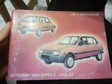CITROEN VISA Super e GT  - LIBRETTO USO E MANUTENZIONE 1983 auto macchina