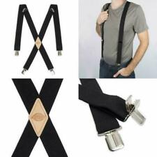 Dickies Men's Clip Suspenders 1-1/4 Solid Straight Extended Size Black X-Back US