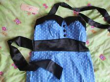 NEW blue polka dot spotty rockabilly DRESS SIZE 12 - 16 50s style grace karin