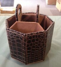 Cosmos Rotatable Organizer Holder in Octagon Shape Crocodile Skin Design Brown