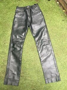 "Original BELSTAFF quality black leather Biker Jeans Trousers size men's 30"""