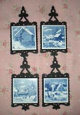 9832c8a18f18 Vintage Currier Ives Blue Tile Trivet Wall Plaque Footed Cast Iron  Homestead Set