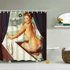72*72 in Shower Curtain Sexy Pretty Girl Bathing Design Art Curtains + 12 hooks
