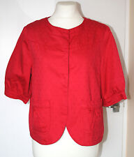 MARKS & SPENCER UK14 EU42 RED COTTON SPOTTED SWING JACKET WITH 3/4 SLEEVES