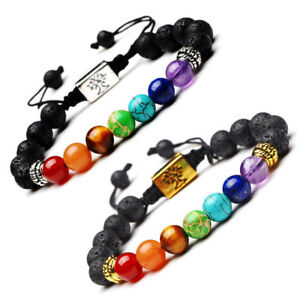 7 Chakra Yoga Natural Stone Beaded Cubic Tree Of Life&3D Braided Bracelets 8MM
