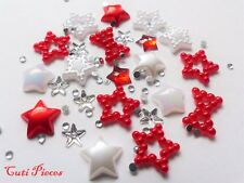 "20pcs x ""Christmas Red Stars Pearls & Rhinestones"" 3D Nail Art Craft Decoration"