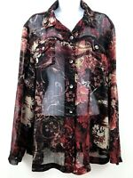Chicos Floral Multicolor Blouse Tunic Button Up XL Sheer Top Pockets A4