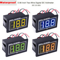 4pcs Digital Voltmeter 0.56 Inch Waterproof and Dustproof Two-Wires DC 2.5-30V