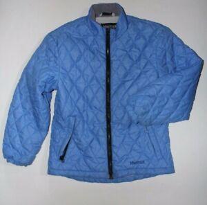 Marmot Quilted Jacket Youth Medium M (8) Blue Fleece Lined Coat w/ Zip Pockets