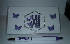 Lupus  Awareness Checkbook Cover With Free Purple Ribbon Pen