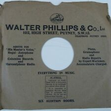 "78 rpm 10"" inch card gramophone record sleeve WALTER PHILIPS & CO PUTNEY"