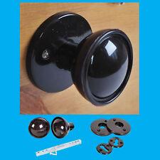 48mm Brown Plastic Bakelite Mortice 2 Round Door Handle Knobs Set Retro Style