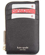 Kate Spade Margaux Zip Card Holder Key Fob Case Leather Wallet ~NWT~ black