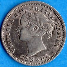 Canada 1870 Wide 0 10 Cents Ten Cent Silver Coin - Very Fine