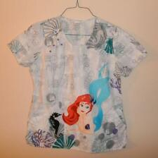Disney The Little Mermaid Womens Medical Scrub Uniform Top Xs