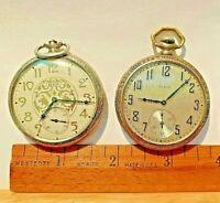 Antique ELGIN Men's pocket watches Lot of 2, Open Face - For Repairs/Parts ONLY