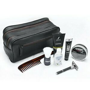 Leather Dopp Kit Bag, Leather Travel Toiletry Bag For Men & Women