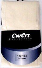 PAIRE DE COLLANTS FILLE 152-164cm 12-14 ans coton ivoire semi-opaque EWERS NEUF